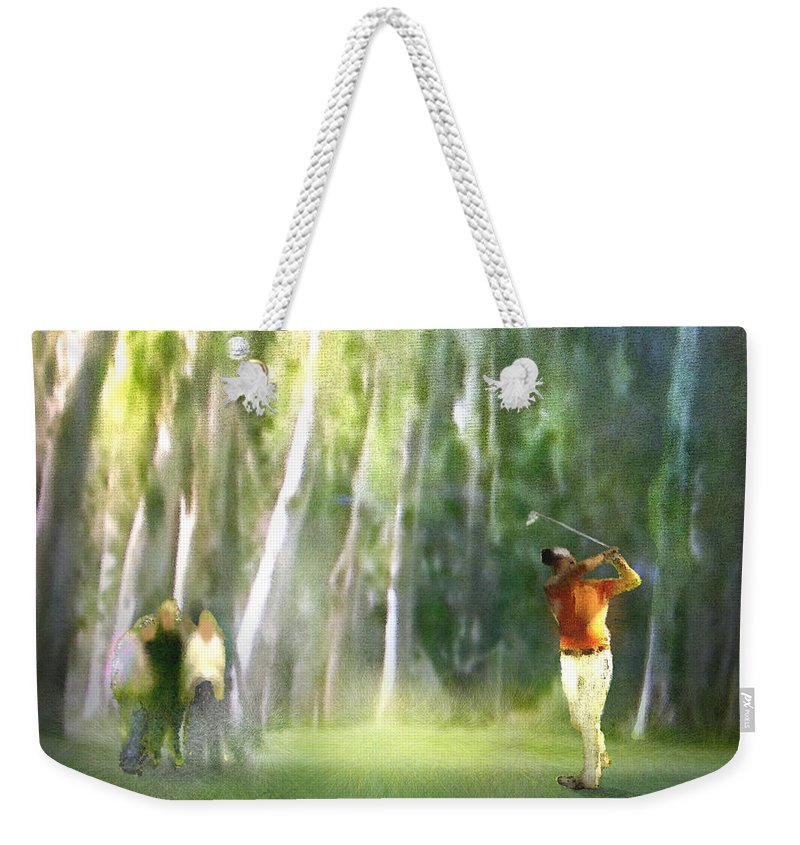Golf Weekender Tote Bag featuring the painting Golf Trophee Hassan II In Royal Golf Dar Es Salam Morocco 01 by Miki De Goodaboom