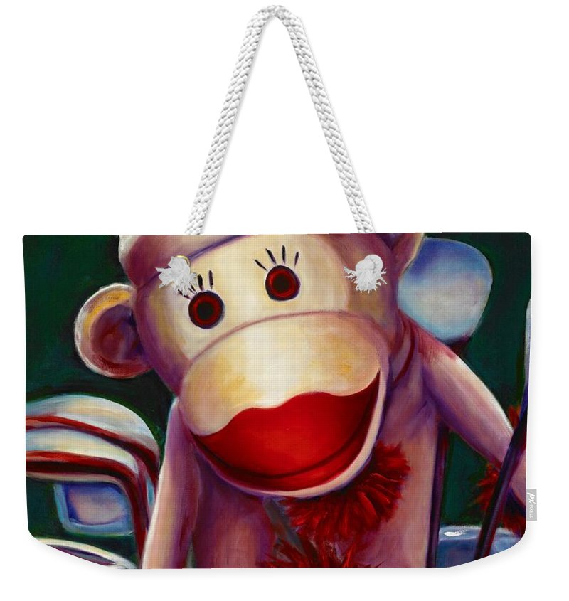 Monkey Weekender Tote Bag featuring the painting Golfer Made Of Sockies by Shannon Grissom