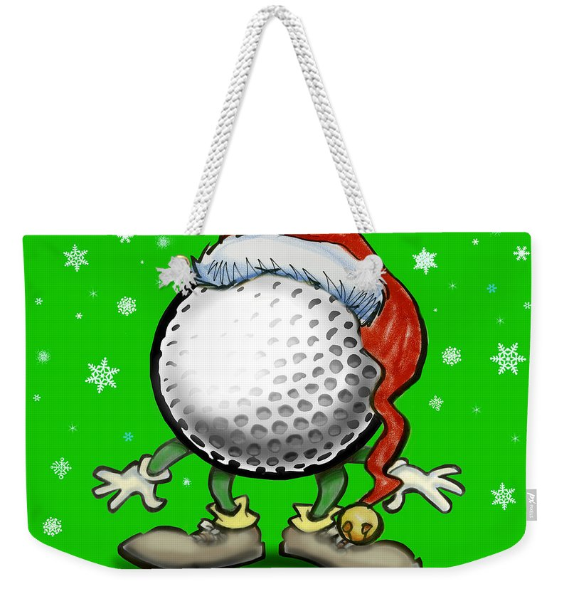 Golf Weekender Tote Bag featuring the greeting card Golfmas by Kevin Middleton