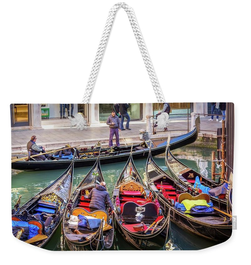 Waterscape Weekender Tote Bag featuring the photograph Gondaliers At Work by Mike Houghton BlueMaxPhotography