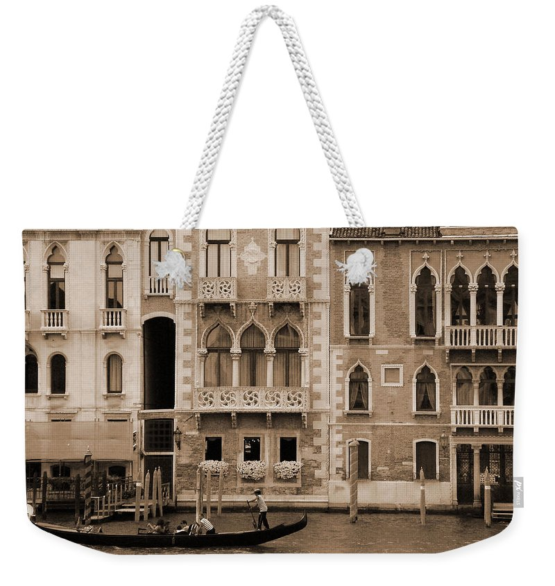 Gondola Weekender Tote Bag featuring the photograph Gondola Crossing Grand Canal by Donna Corless