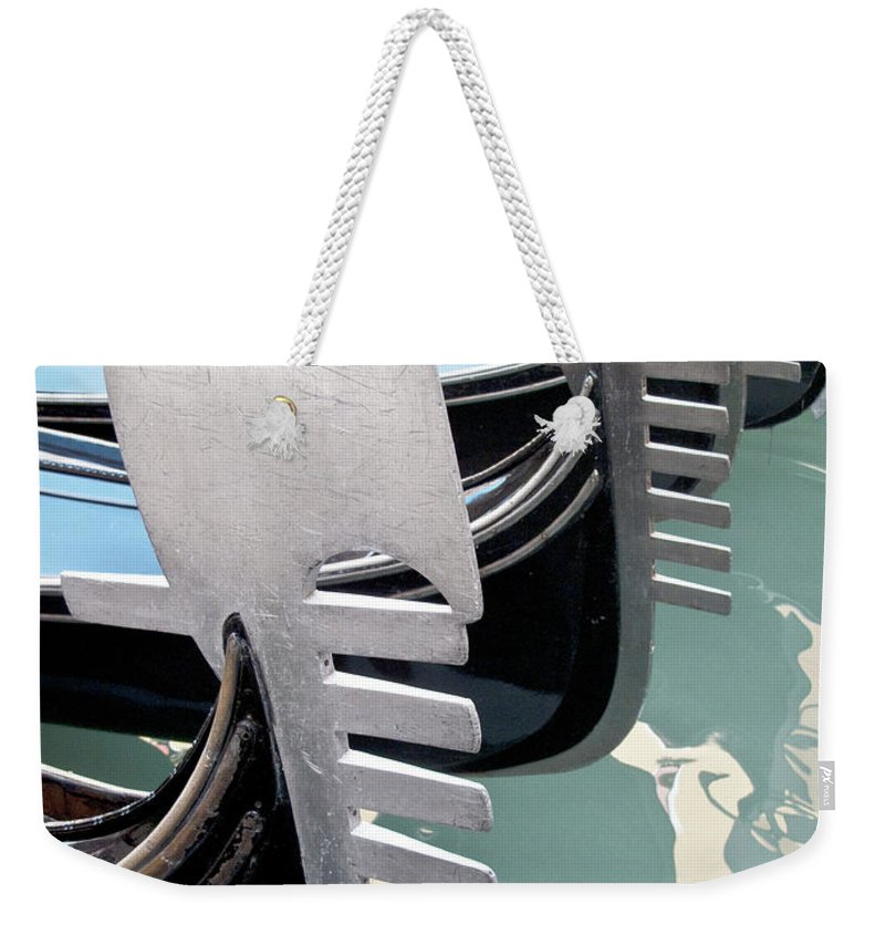 Italy Weekender Tote Bag featuring the photograph Gondola In Line by Heiko Koehrer-Wagner