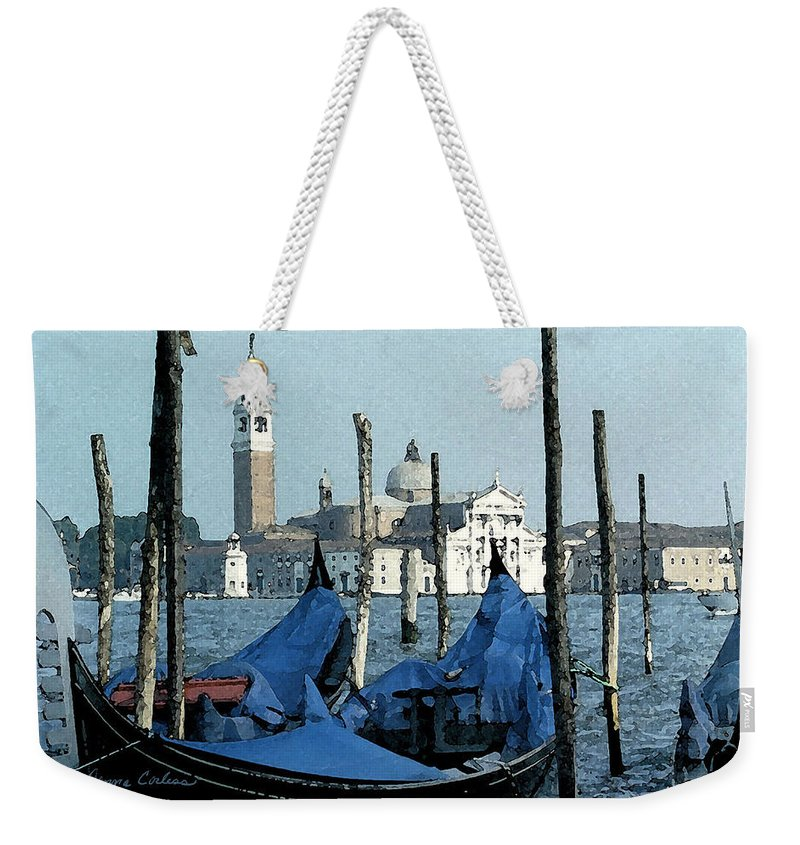 Gondolas Weekender Tote Bag featuring the digital art Gondolas Across San Giorgio by Donna Corless