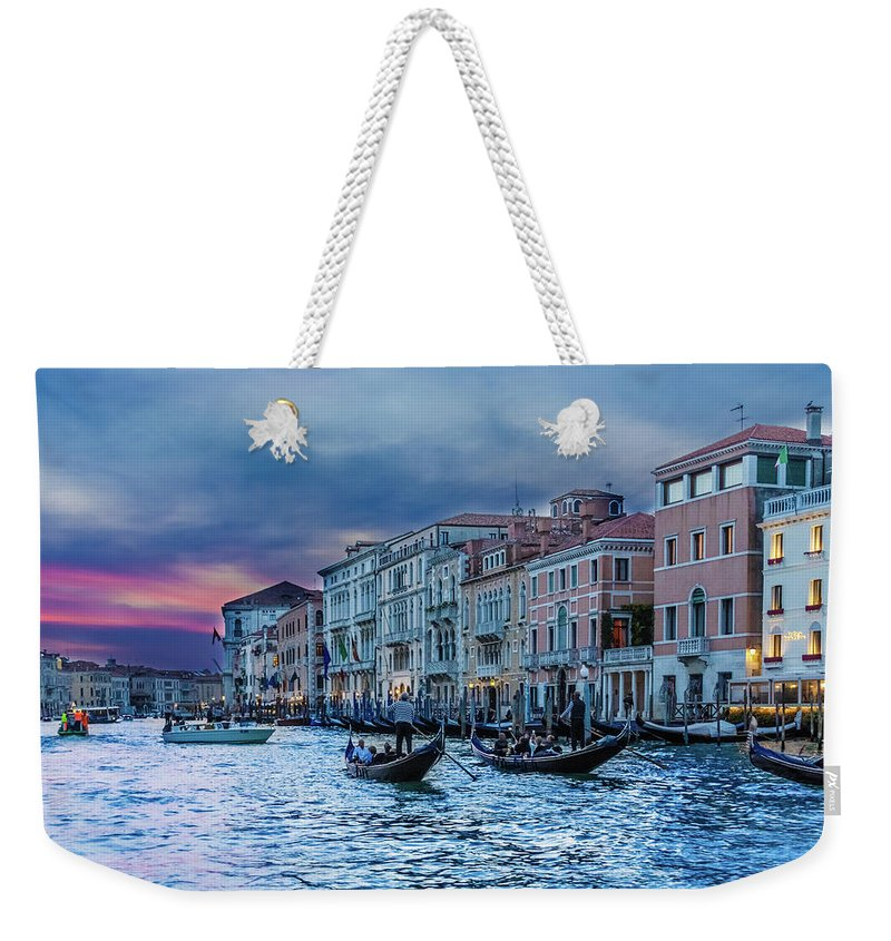 Architecture Weekender Tote Bag featuring the photograph Gondolas At Night by Darryl Brooks