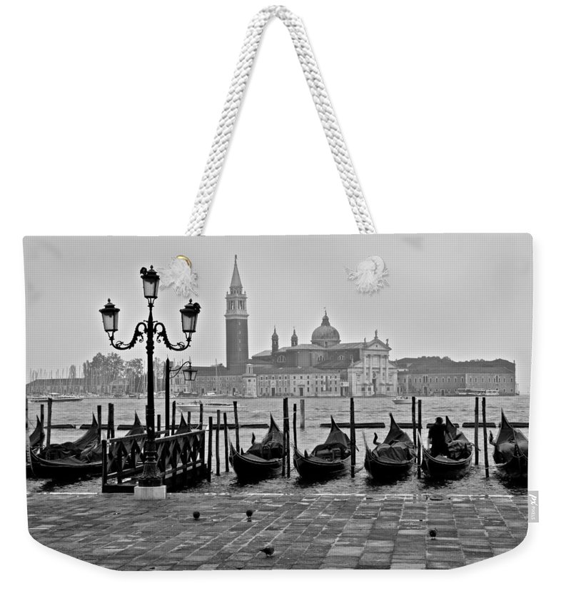 Gondolas Weekender Tote Bag featuring the photograph Gondolas Of San Marco Square by Frozen in Time Fine Art Photography