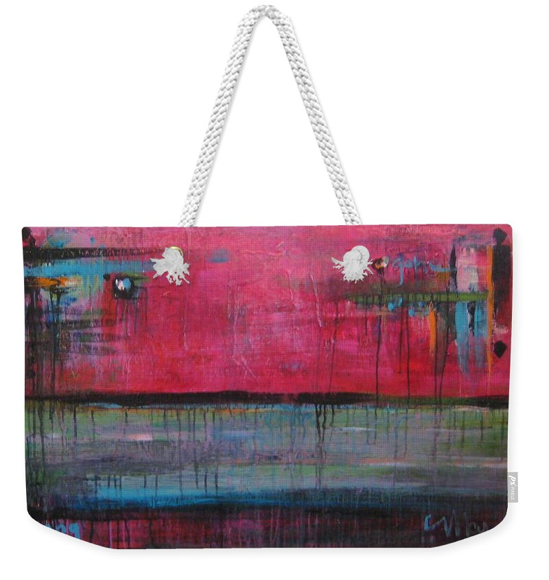 Abstract Weekender Tote Bag featuring the painting Gone by Laurie Maves ART
