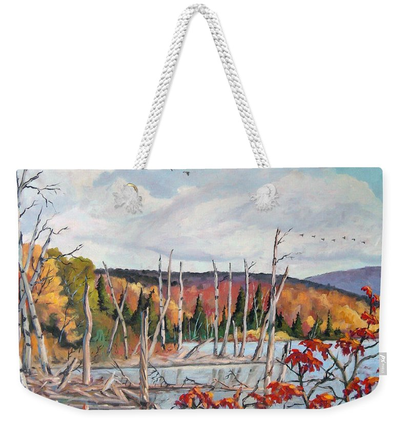Original Painting Weekender Tote Bag featuring the painting Gone South by Richard T Pranke