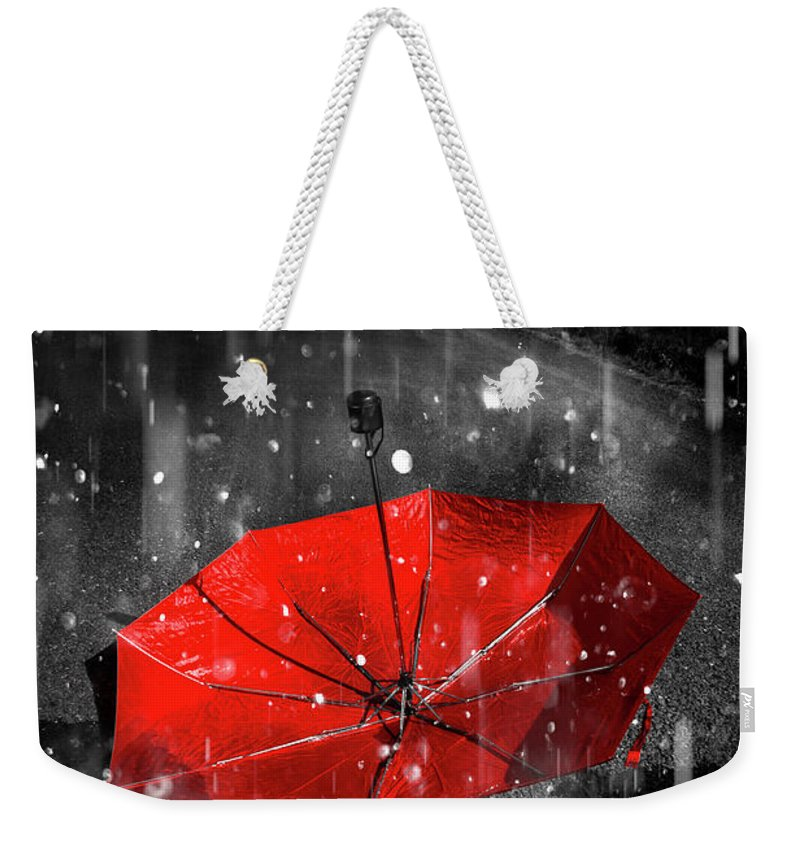 Red Weekender Tote Bag featuring the digital art Gone With The Rain by Jorgo Photography - Wall Art Gallery