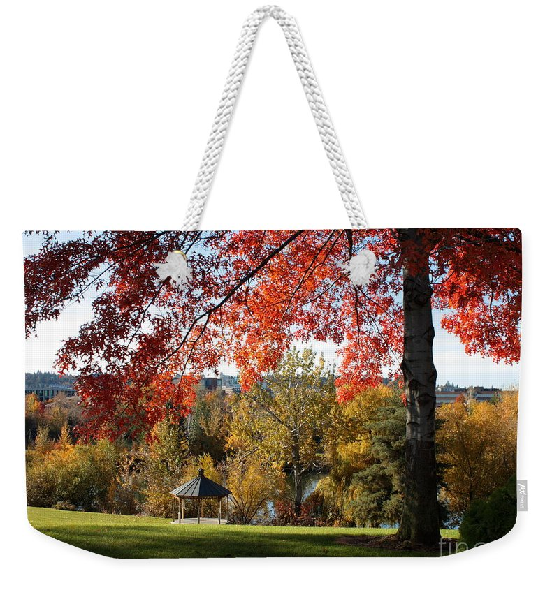 Spokane Weekender Tote Bag featuring the photograph Gonzaga With Autumn Tree Canopy by Carol Groenen