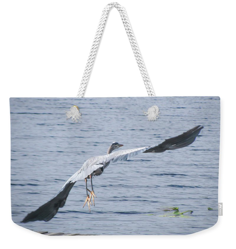 Great Blue Heron Weekender Tote Bag featuring the photograph Good Bye... by Zina Stromberg