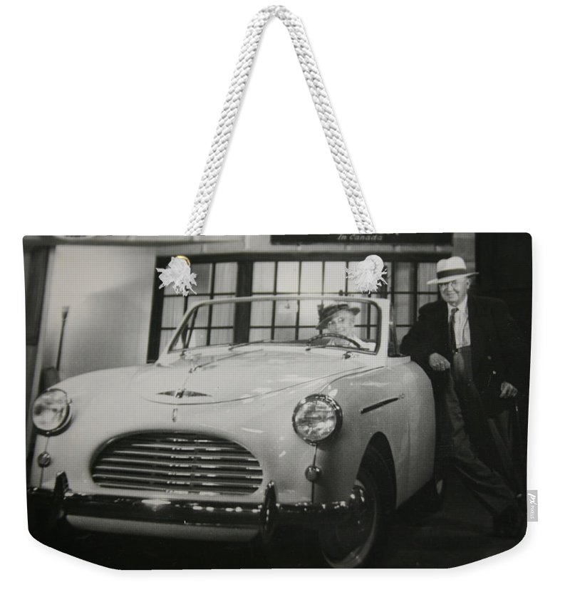 Men Man Classic Car Austin Car Show Black And White Photograph Weekender Tote Bag featuring the photograph Good Fellas by Andrea Lawrence