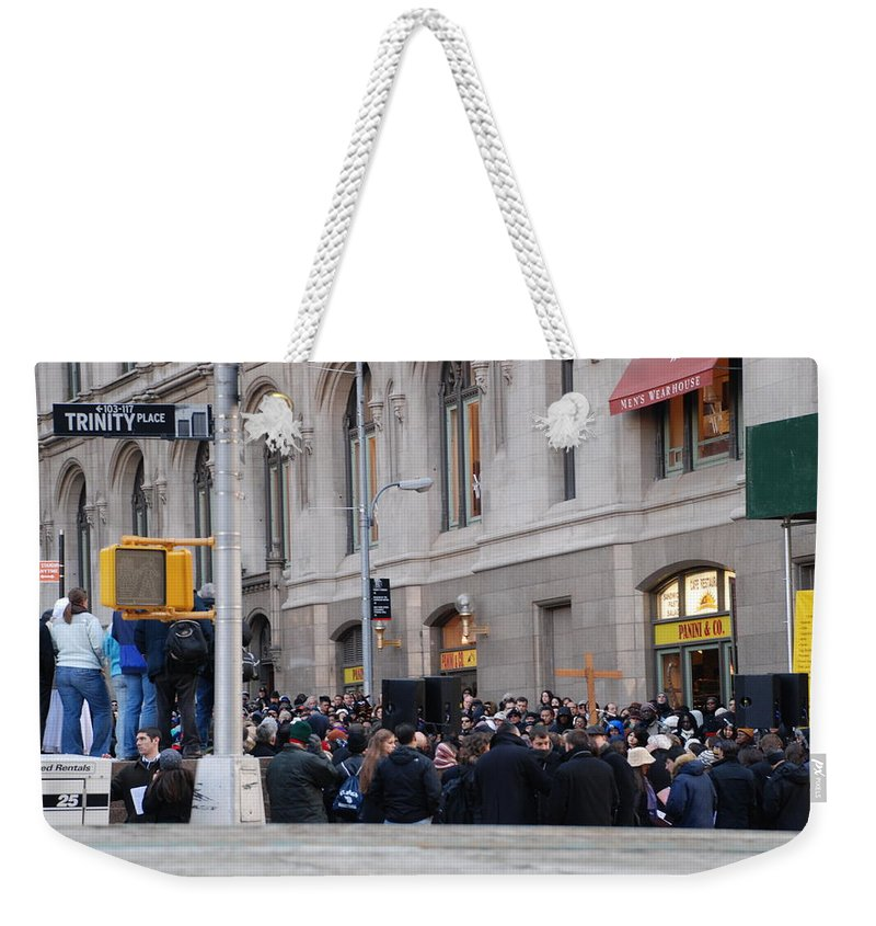Church Weekender Tote Bag featuring the photograph Good Friday On Trinity Place by Rob Hans