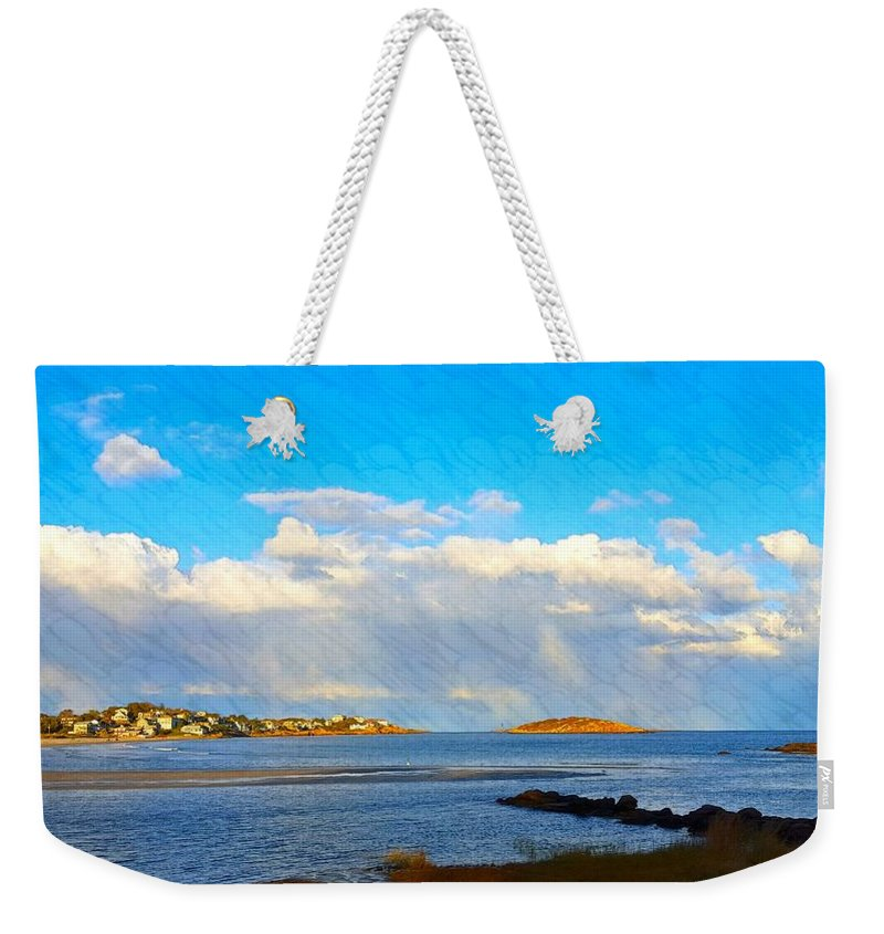 Bright Blue Sky Weekender Tote Bag featuring the photograph Good Harbor Clouds And Sun by Harriet Harding