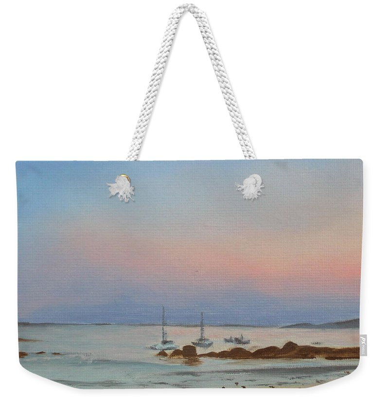 Seascape Weekender Tote Bag featuring the painting Good Harbor by Lea Novak