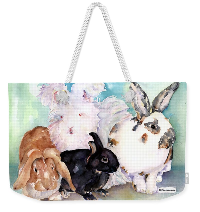 Animal Artwork Weekender Tote Bag featuring the painting Good Hare Day by Pat Saunders-White