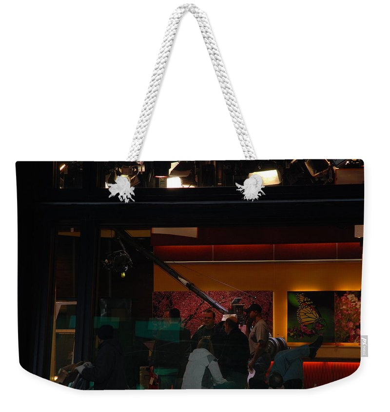 Studio Weekender Tote Bag featuring the photograph Good Morning America Commercial Break by Rob Hans