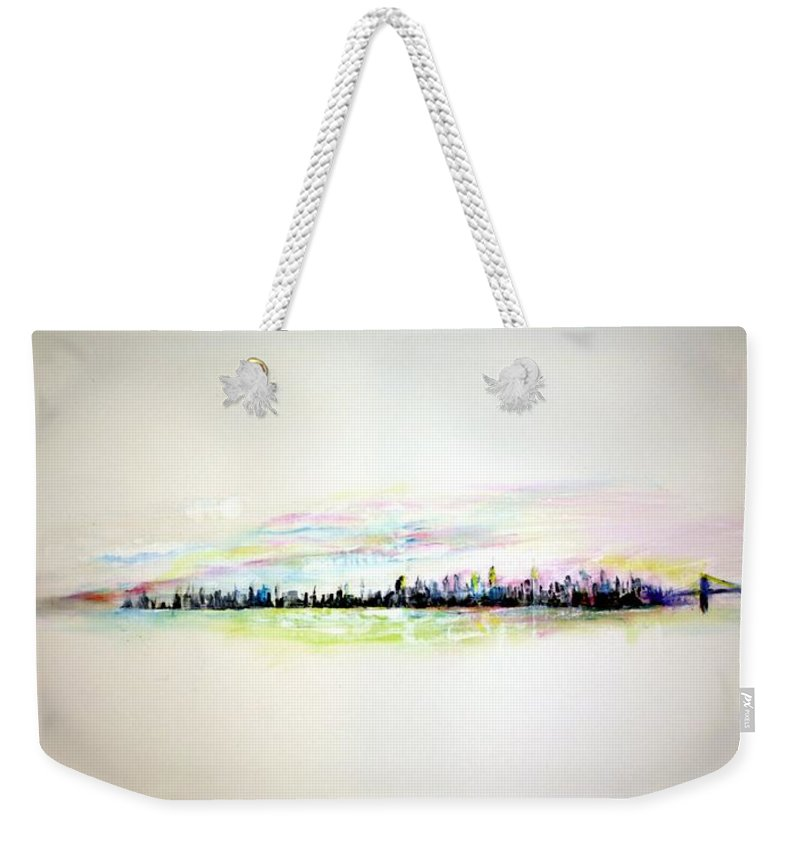 New York Weekender Tote Bag featuring the painting Good Morning America by Jack Diamond