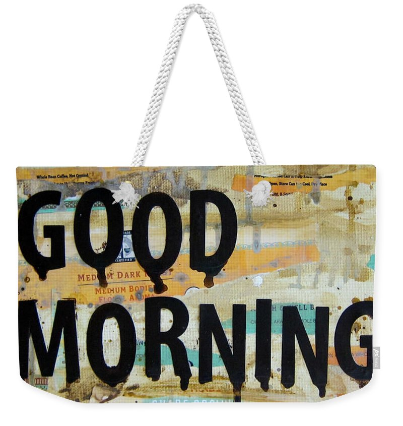 Good Morning Weekender Tote Bag featuring the painting Good Morning Coffee Collage 9x12 by Michelle Eshleman