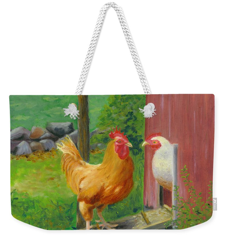 Landscape Weekender Tote Bag featuring the painting Good Morning Dudley by Paula Emery