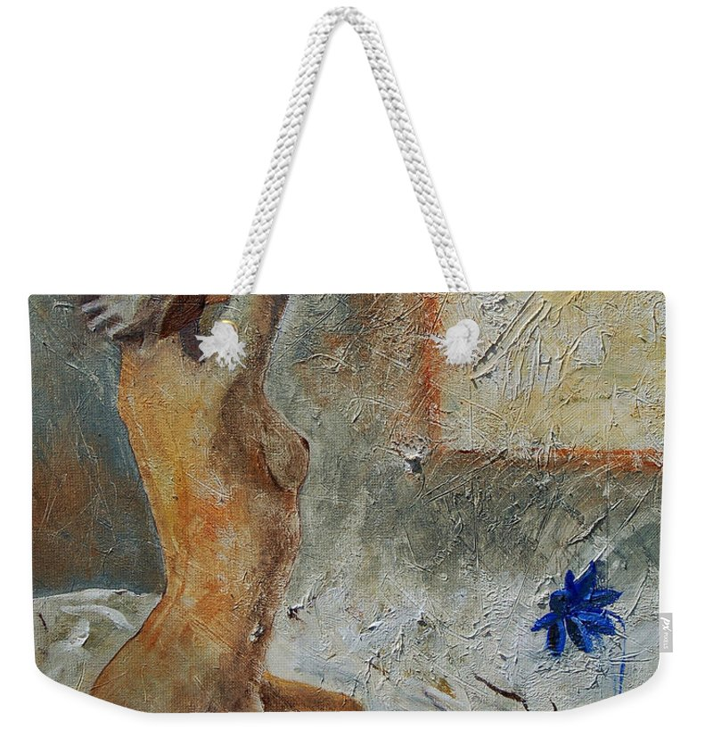 Nude Weekender Tote Bag featuring the painting Good Morning Sunshine by Pol Ledent
