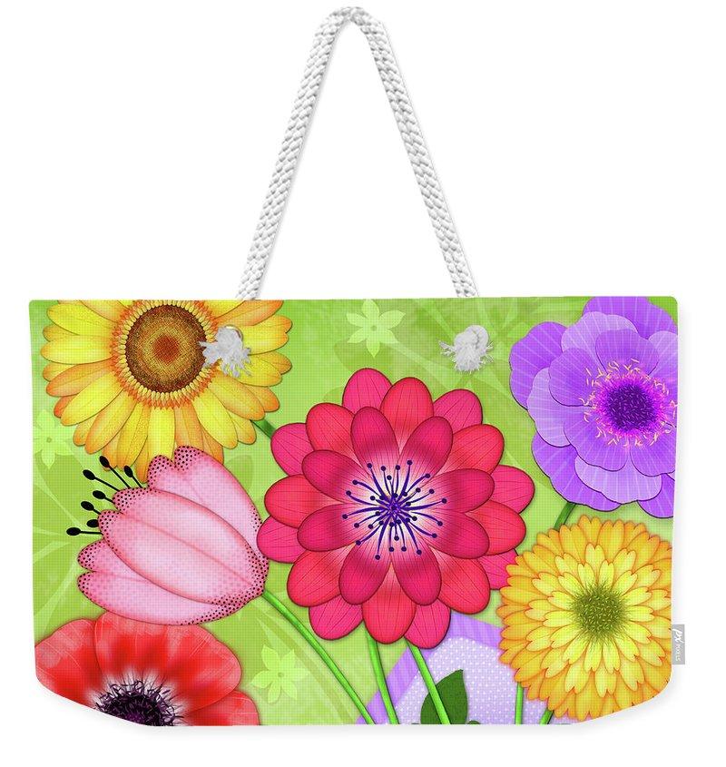 Flowers Weekender Tote Bag featuring the digital art Good News by Valerie Drake Lesiak
