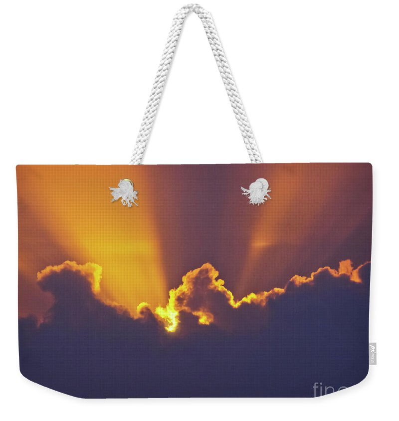 Crepuscular Ray Weekender Tote Bag featuring the photograph Good Night Sunshine by Terri Waters