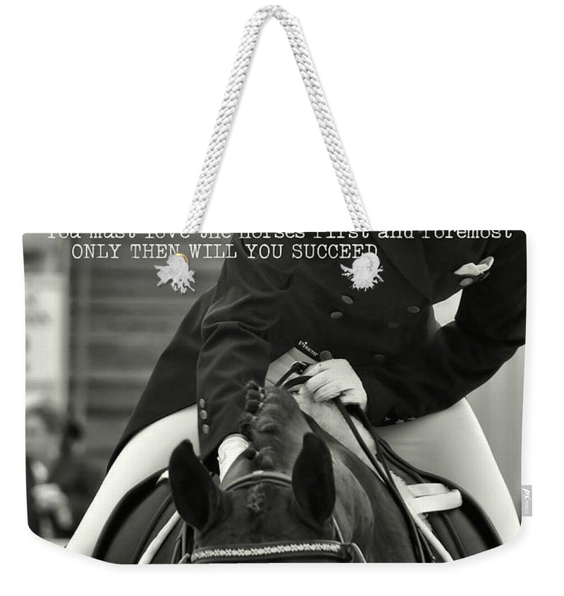 Horse Weekender Tote Bag featuring the photograph Good Ride Quote by JAMART Photography