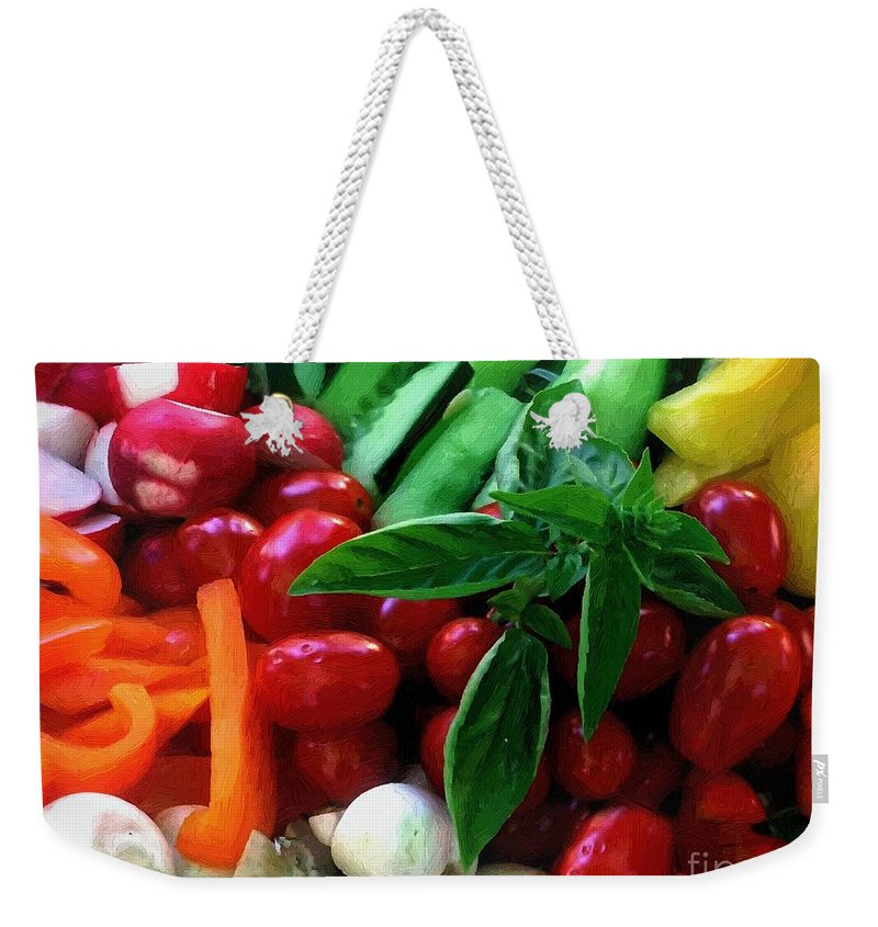 Food Weekender Tote Bag featuring the painting Good Stuff by RC DeWinter