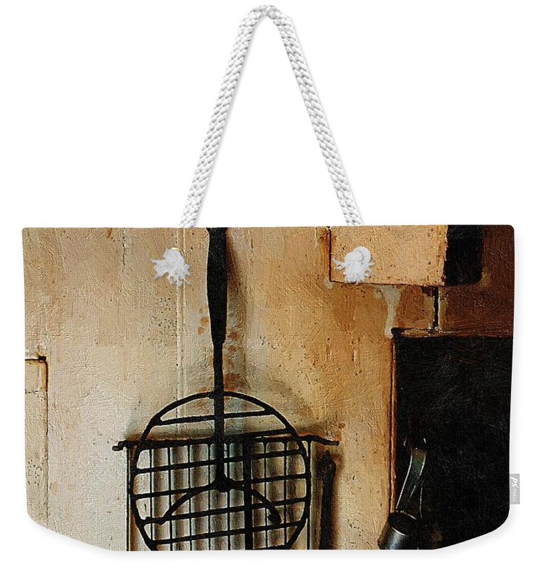 Americana Weekender Tote Bag featuring the painting Goodwife Hamlyn's Hearth by RC DeWinter