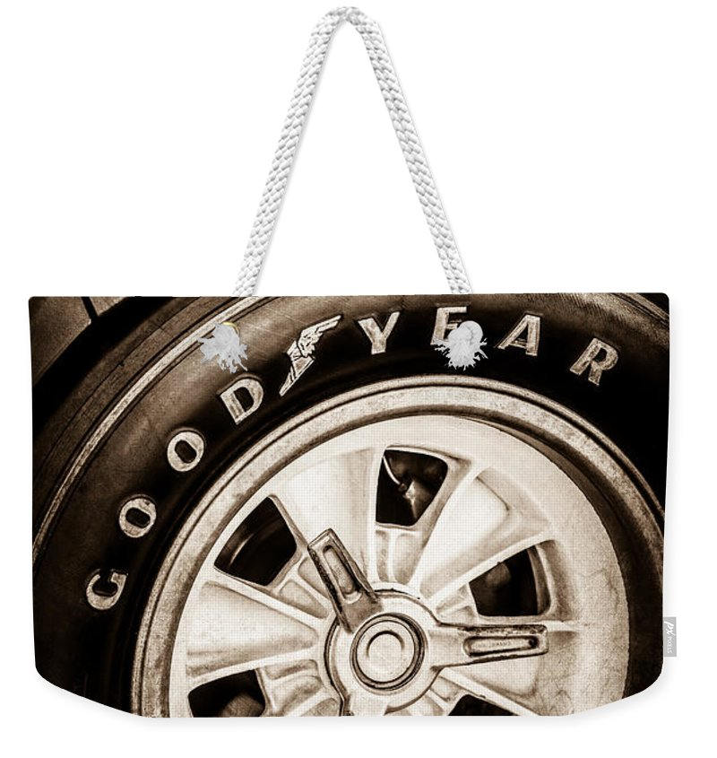 Goodyear Tire Weekender Tote Bag featuring the photograph Goodyear Tire -0250s by Jill Reger