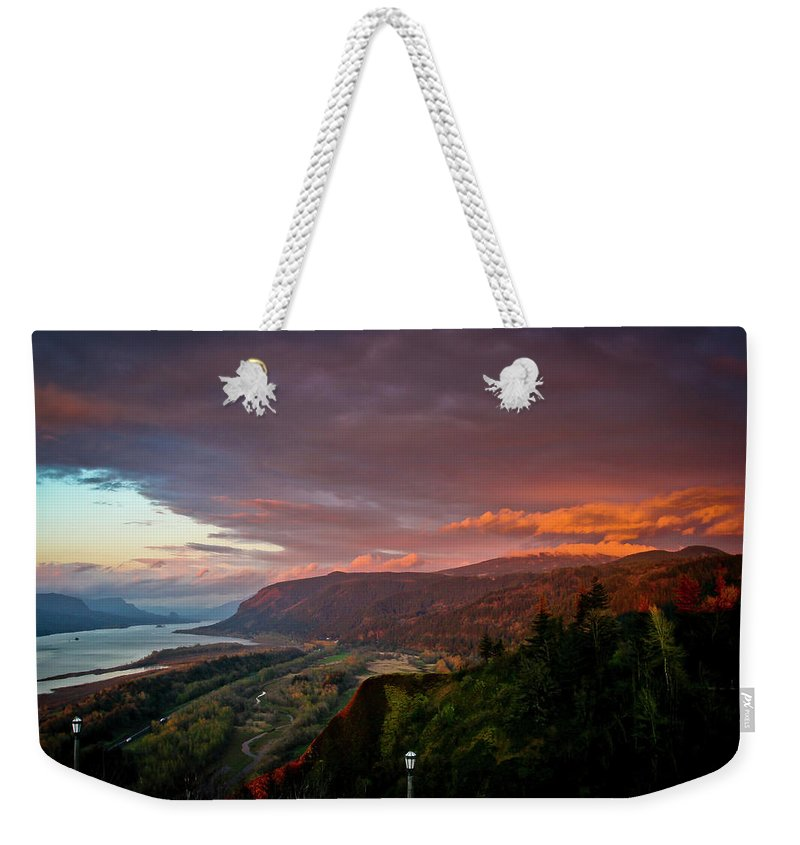Oregon Weekender Tote Bag featuring the photograph Gorge Sunset by Albert Seger