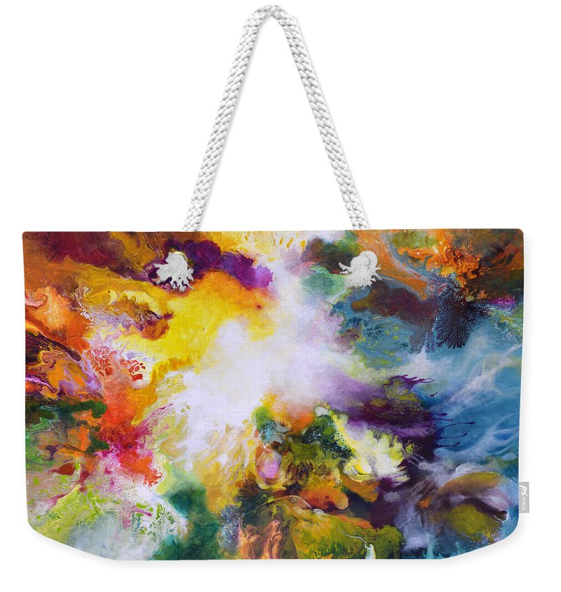 Fluid Weekender Tote Bag featuring the painting Gossamer 2 by Sally Trace