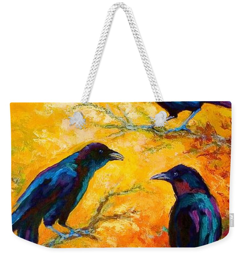 Crows Weekender Tote Bag featuring the painting Gossip Column II by Marion Rose