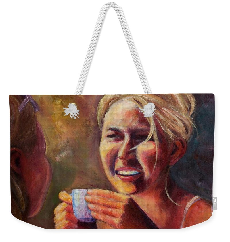Girl Weekender Tote Bag featuring the painting Gossip by Jason Reinhardt