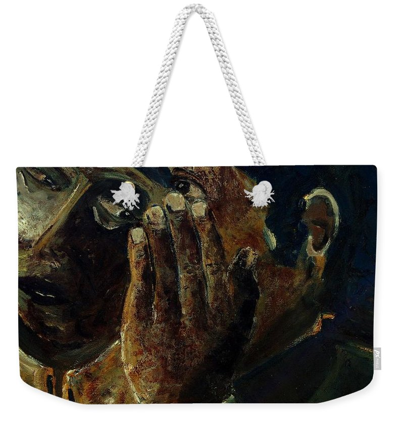 Figurative Weekender Tote Bag featuring the painting Gossip by Pol Ledent