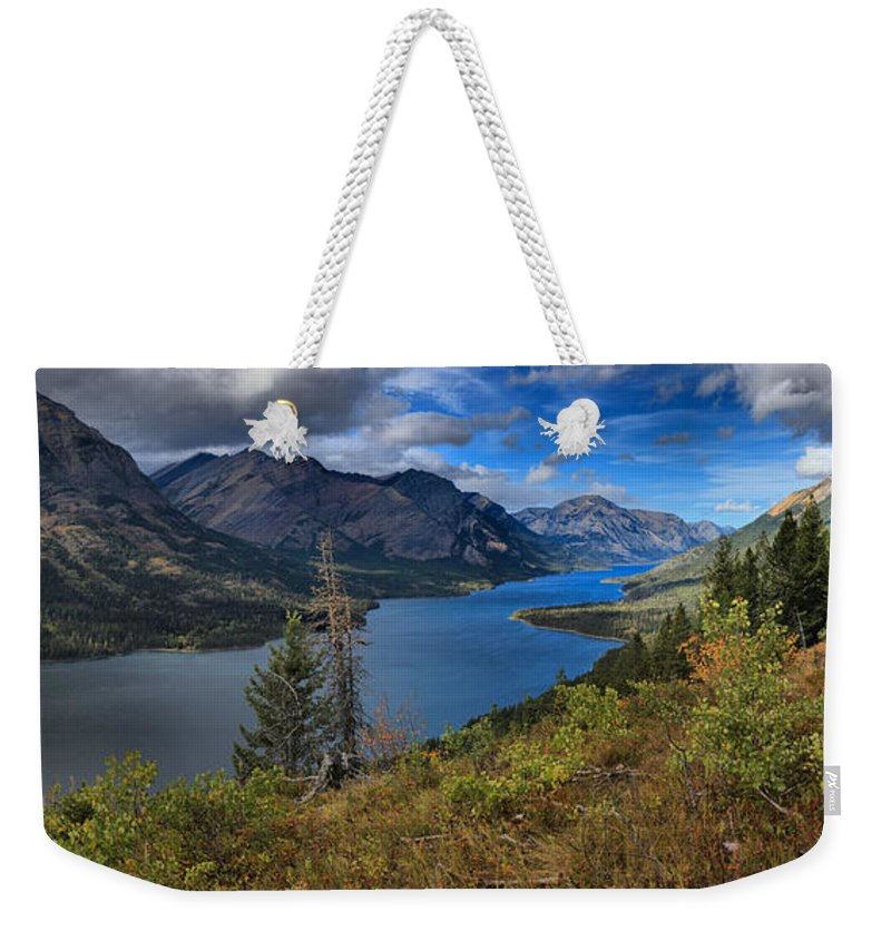 Goat Haunt Panorama Weekender Tote Bag featuring the photograph Goat Haunt Pine Tree Panorama by Adam Jewell