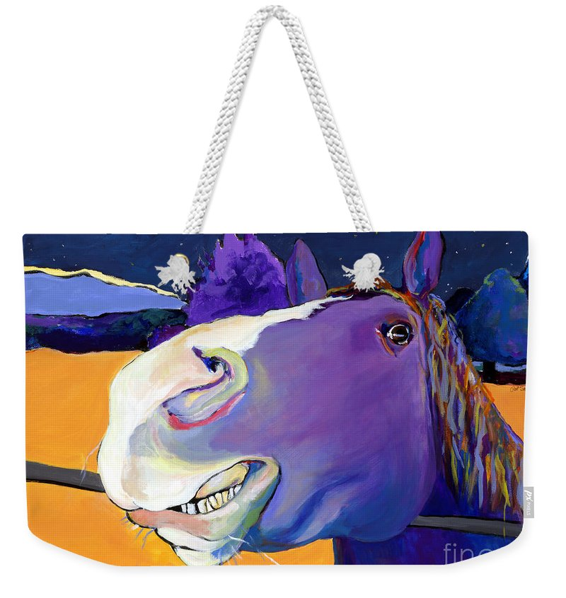 Barnyard Animal Weekender Tote Bag featuring the painting Got Oats   by Pat Saunders-White