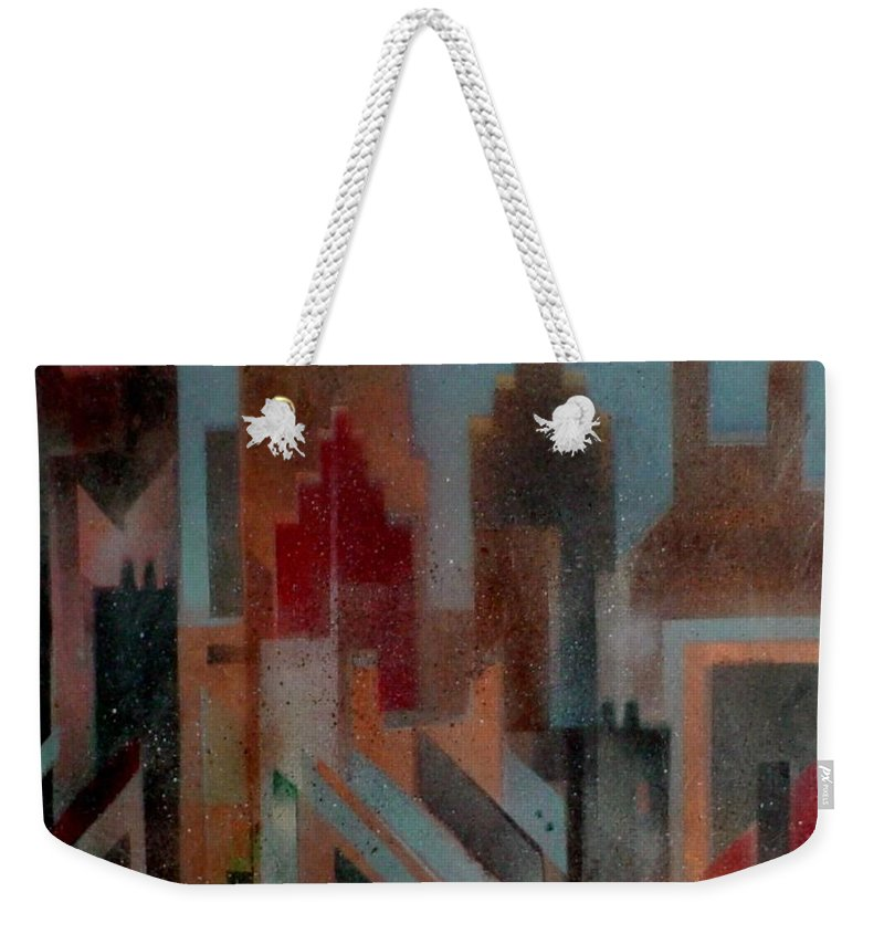 Abstract Weekender Tote Bag featuring the painting Gothem City by Anita Burgermeister