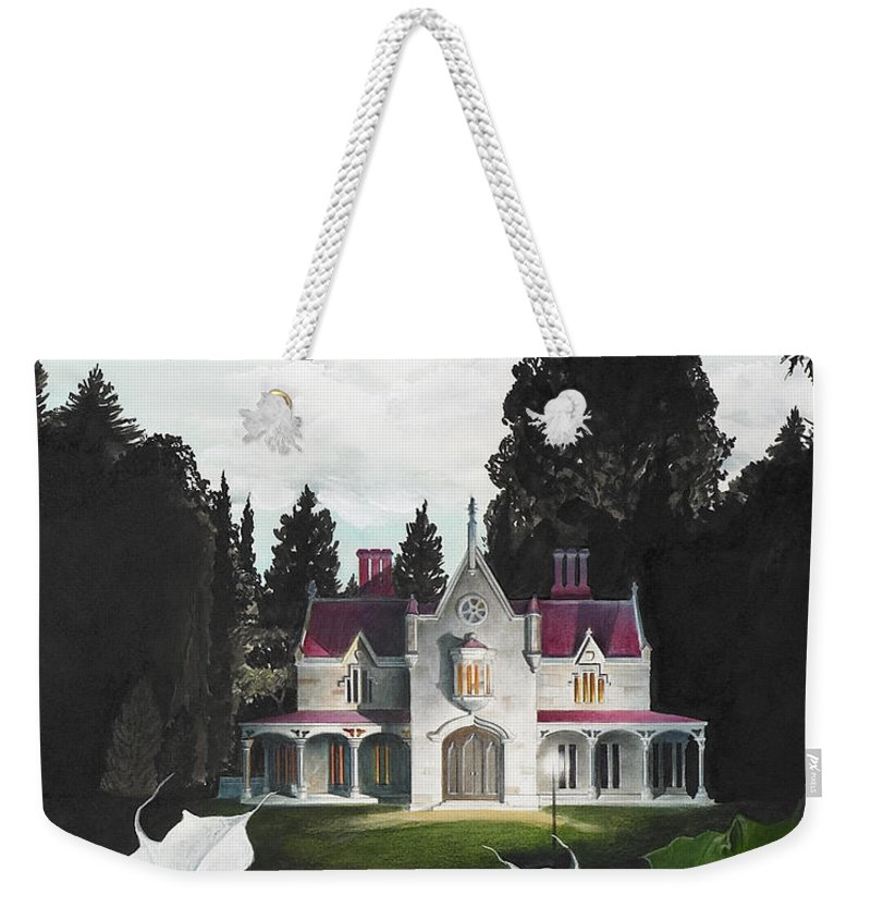 Fantasy Weekender Tote Bag featuring the painting Gothic Country House Detail From Night Bridge by Melissa A Benson