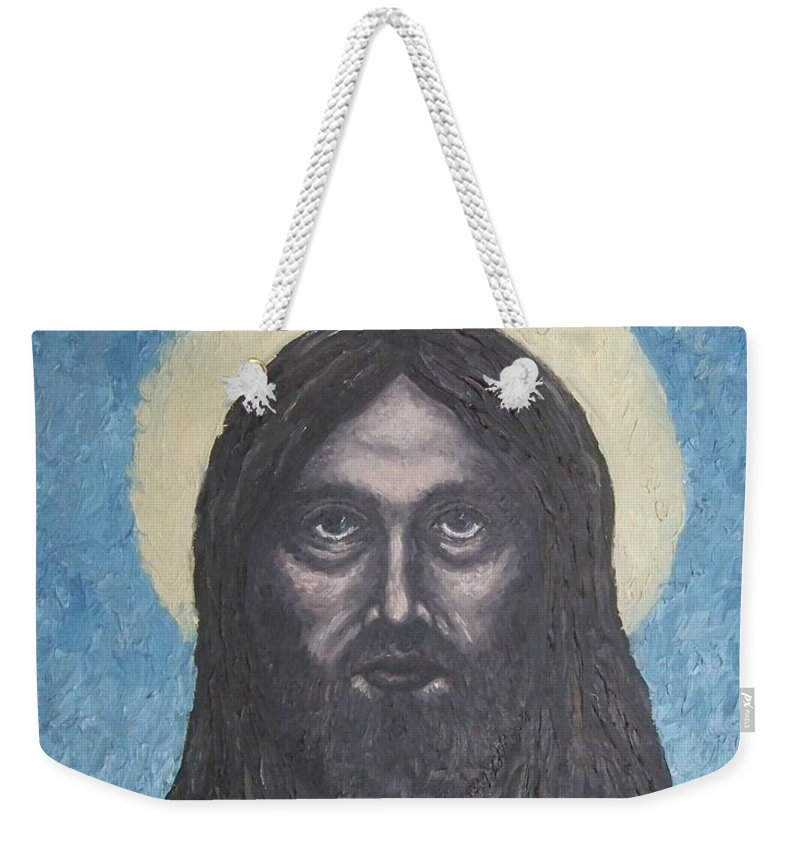 Michael Weekender Tote Bag featuring the painting Gothic Jesus by Michael TMAD Finney