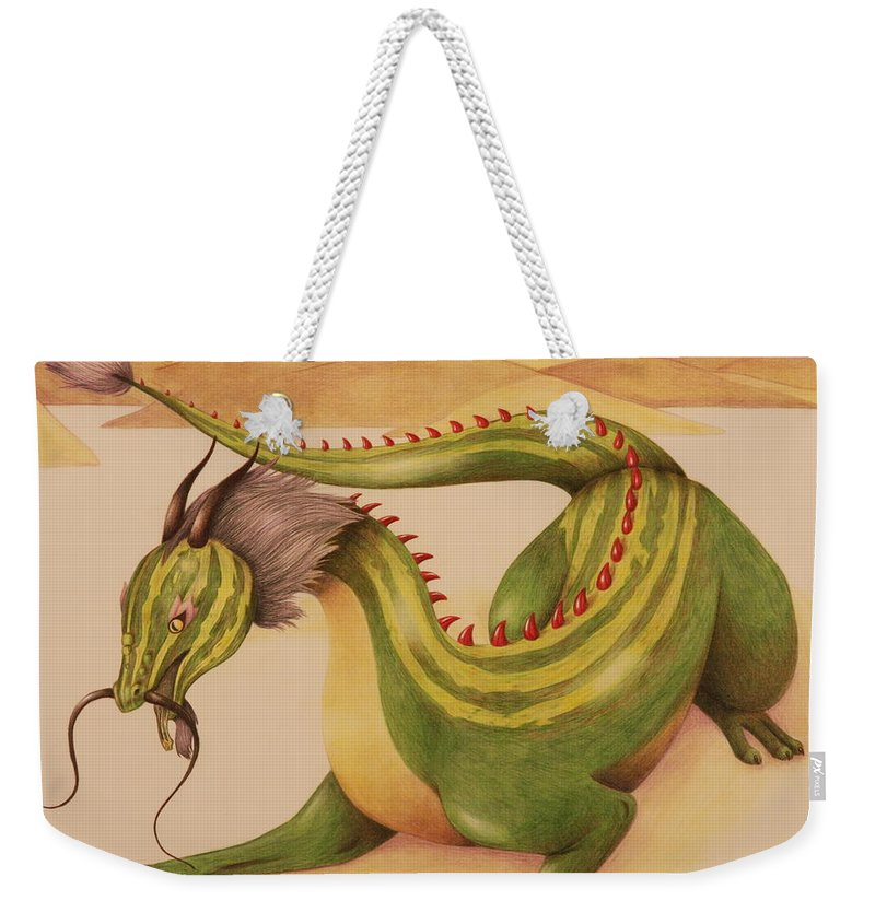 Dragon Weekender Tote Bag featuring the drawing Gourd Dragon by Michelle Miron-Rebbe