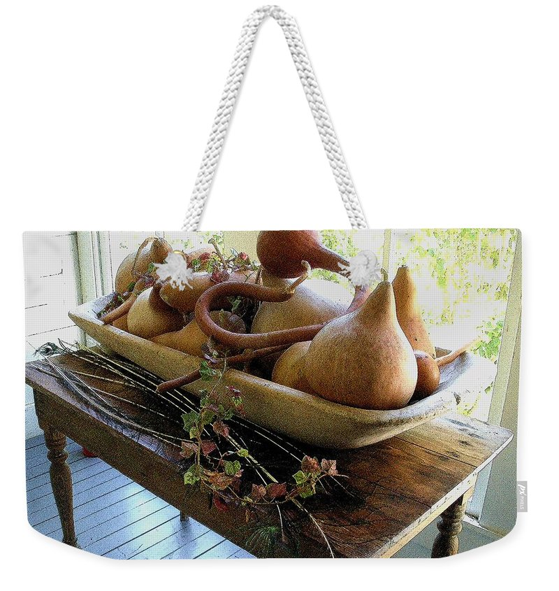 Still Life Weekender Tote Bag featuring the photograph Gourds In Bowl by Nelson Strong