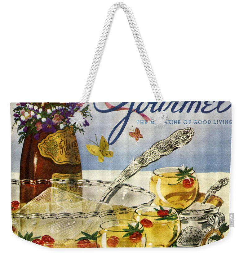 Illustration Weekender Tote Bag featuring the photograph Gourmet Cover Featuring A Bowl And Glasses by Henry Stahlhut