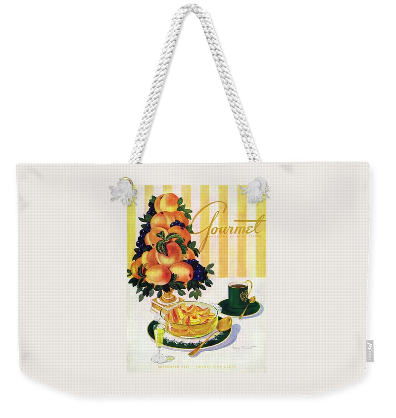 Illustration Weekender Tote Bag featuring the photograph Gourmet Cover Featuring A Centerpiece Of Peaches by Henry Stahlhut