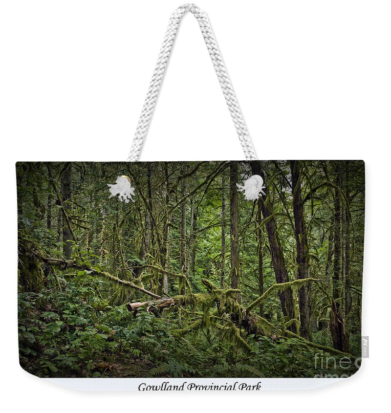 Park Weekender Tote Bag featuring the photograph Gowlland Park Treescape by Dorothy Hilde