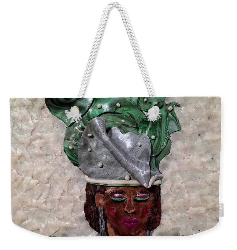 Horizontal Weekender Tote Bag featuring the mixed media Grace by Deborah Stanley