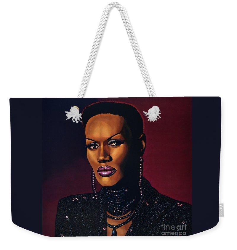 Grace Jones Weekender Tote Bag featuring the painting Grace Jones by Paul Meijering