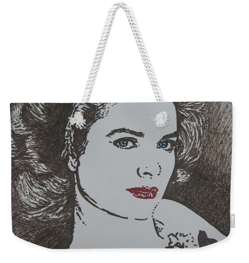 Grace Kelly Weekender Tote Bag featuring the drawing Grace by Lynet McDonald