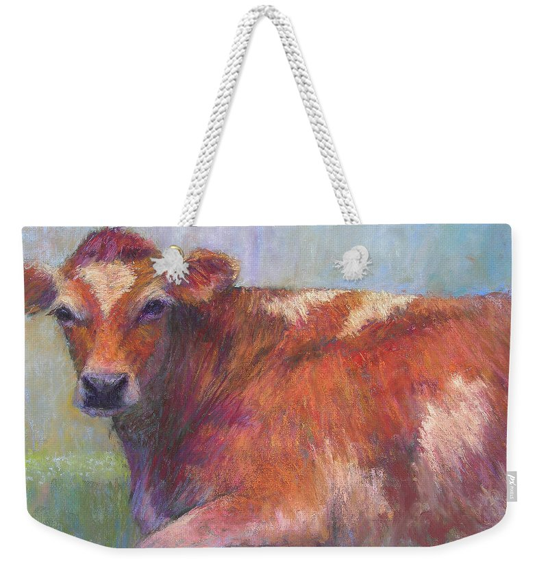 Cattle Weekender Tote Bag featuring the painting Grace by Susan Williamson