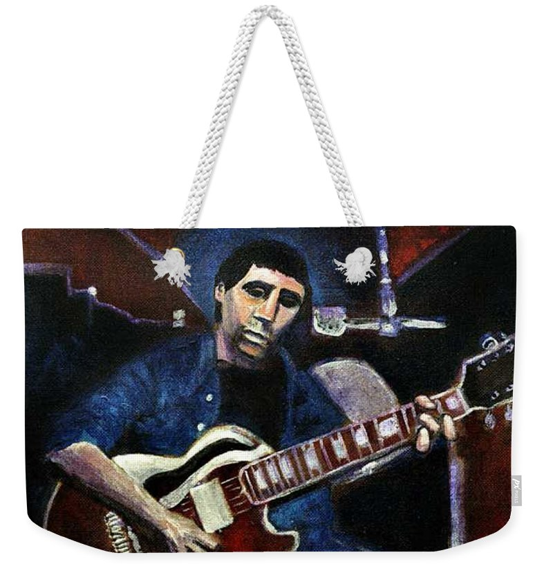 Shining Guitar Weekender Tote Bag featuring the painting Graceland Tribute to Paul Simon by Seth Weaver